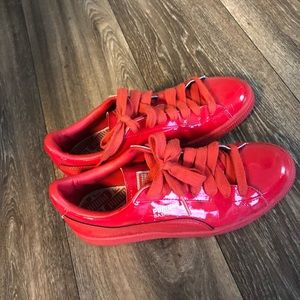 Addidas red patent leather